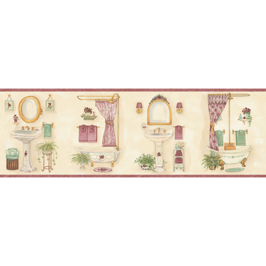 Pastel Vintage Bathroom Prepasted Wallpaper Border at Lowescom 900x900