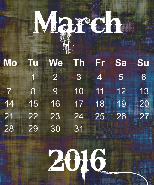 March 2016 Grunge Calendar Stock Photo   Public Domain Pictures 512x615