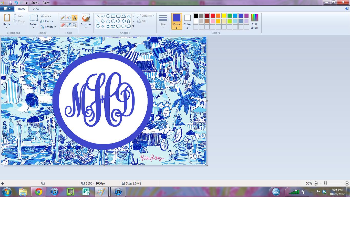 in Pearls DIY Monogram Desktop Backgrounds Using Microsoft Paint 1366x960