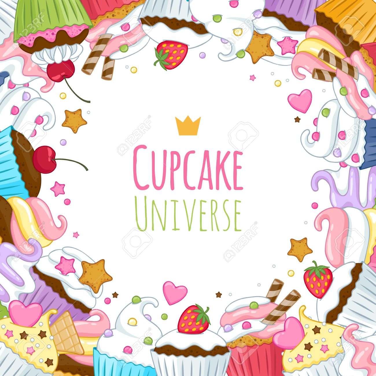 Sweet Cupcakes Background Colorful Illustration Good For Menu 1300x1300