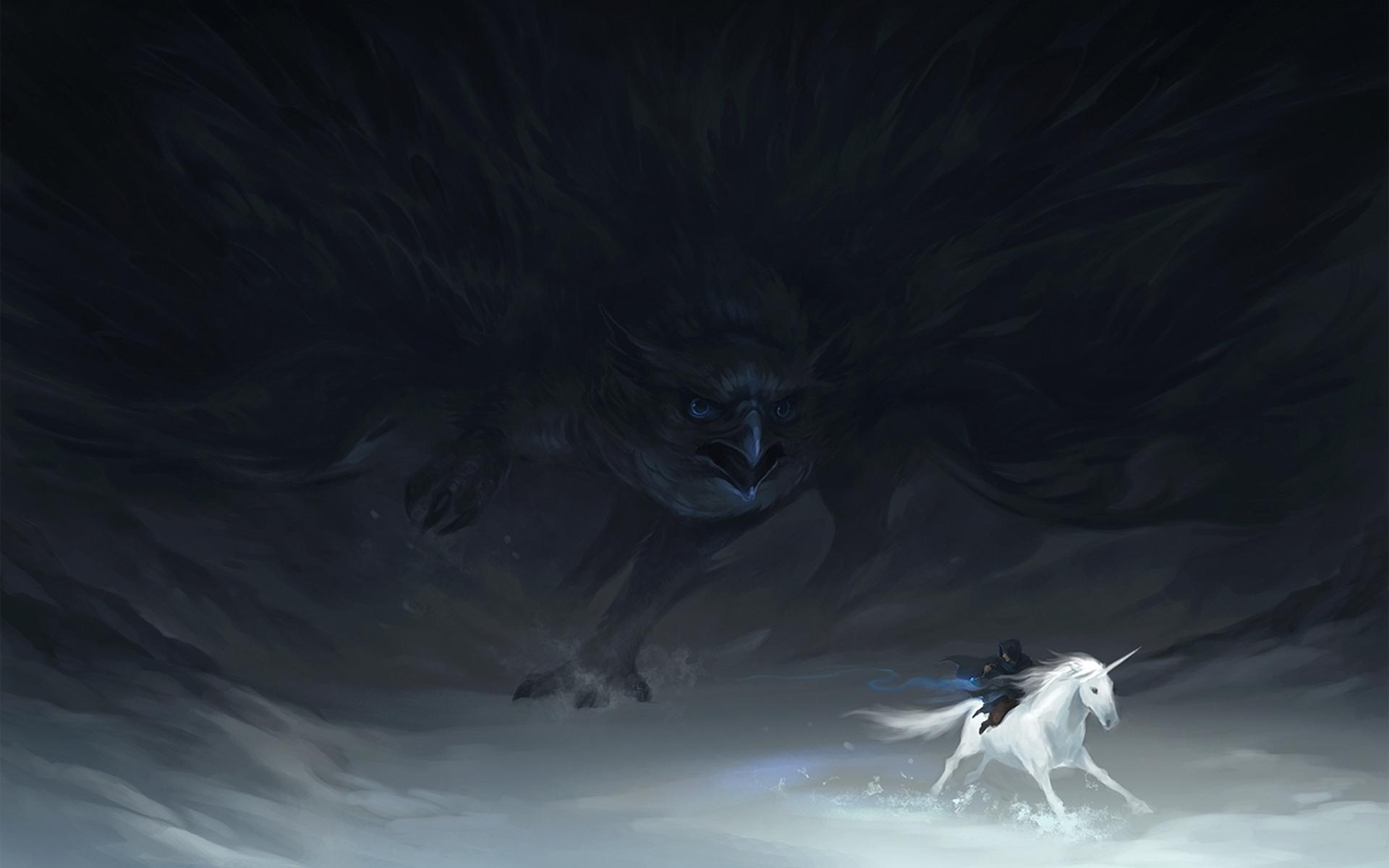 Fantasy art unicorn dark gothic bird raven wallpaper 1920x1200 1920x1200