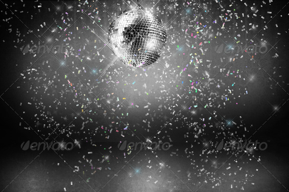 Disco ball with lights and confetti party background   PhotoDune Item 590x393
