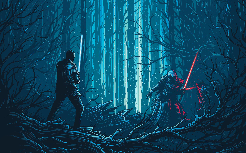 parede Star Wars The Force desperta filmes Kylo ren vs luta finn 2880x1800