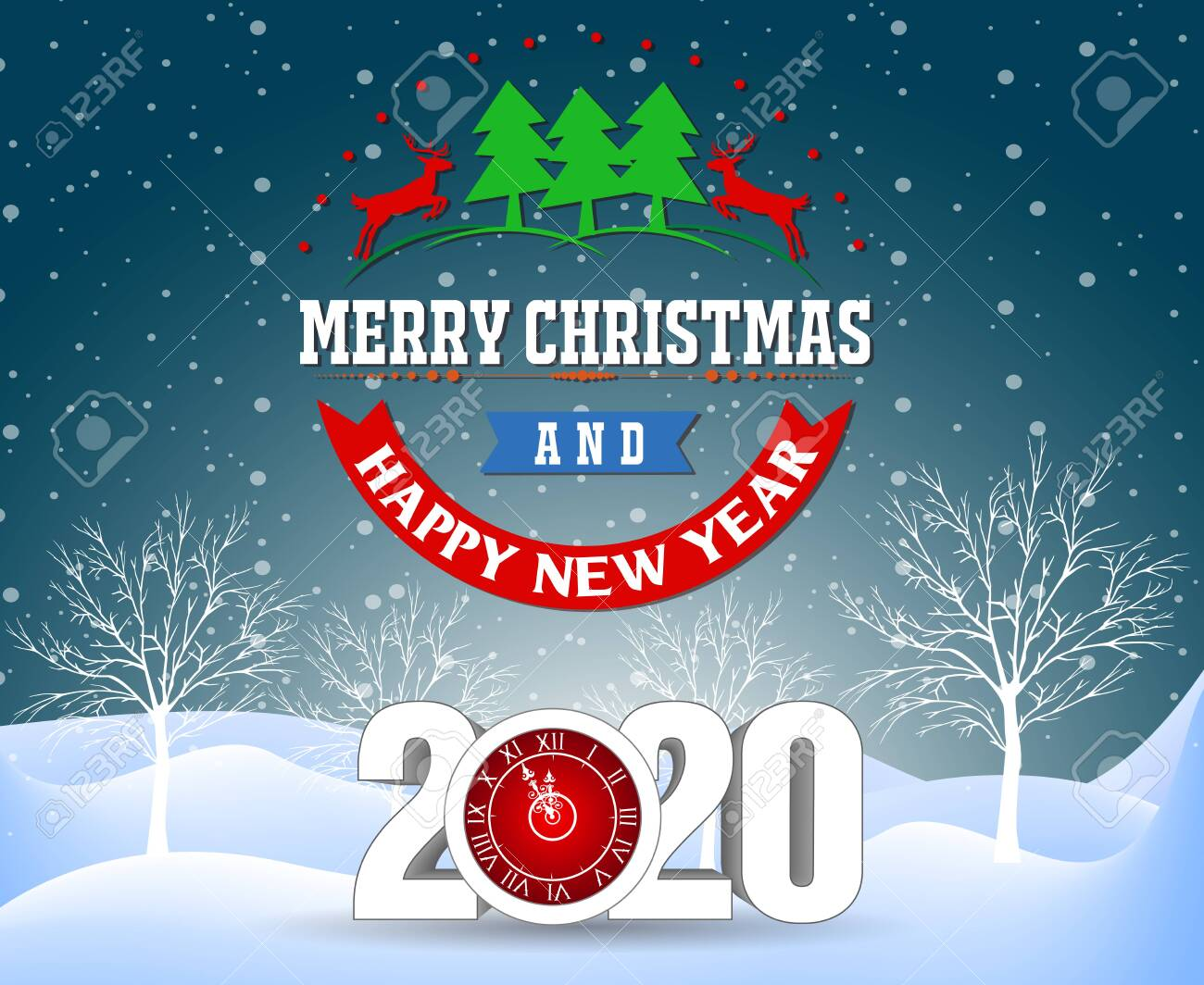 Merry Christmas And Happy New Year 2020 Royalty Cliparts 1300x1064