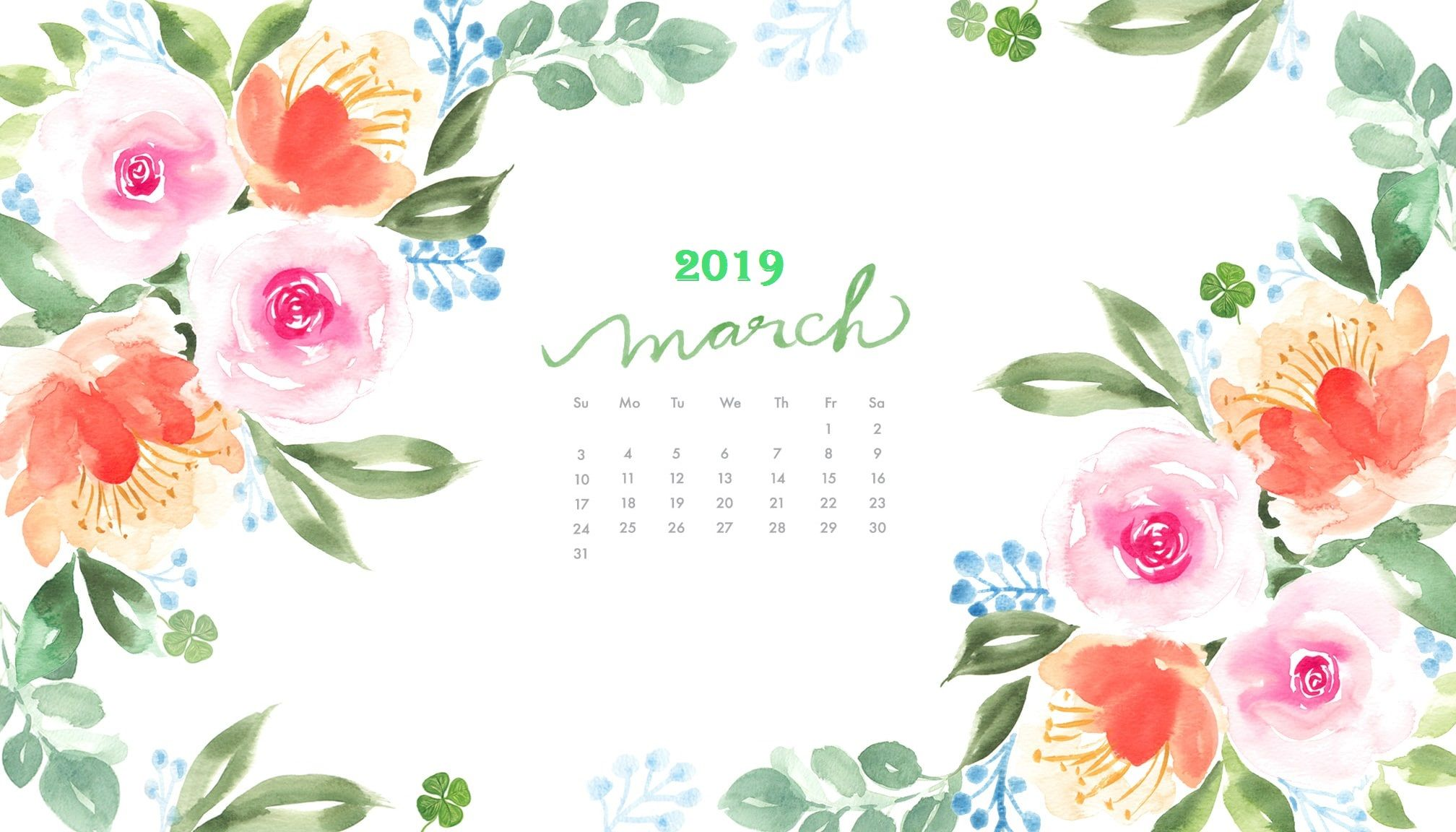 March 2019 Watercolor Calendar Wallpaper Calendar wallpaper 2016x1152