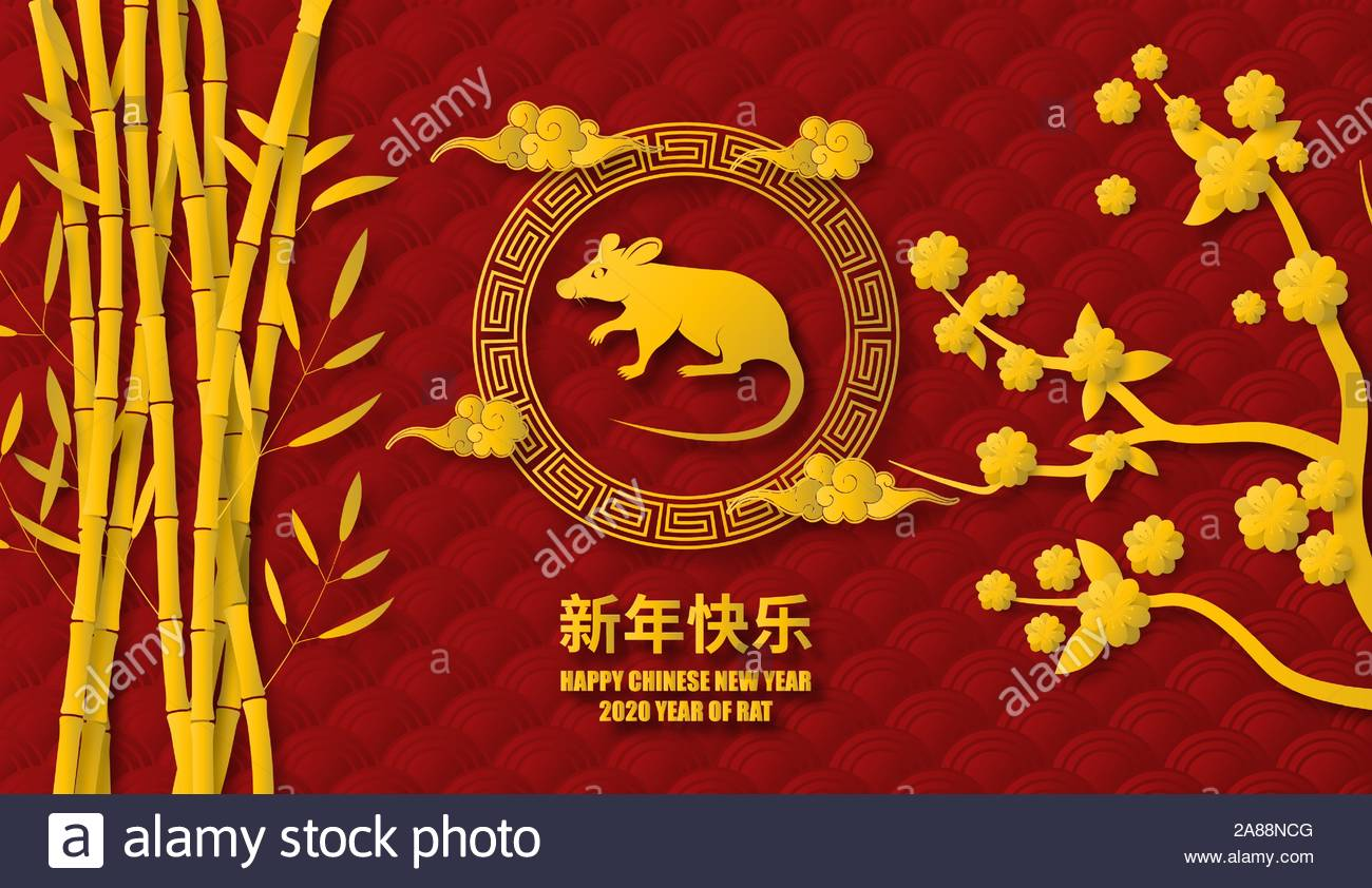 Happy Chinese New Year 2020 background in paper cut style Year of 1300x842
