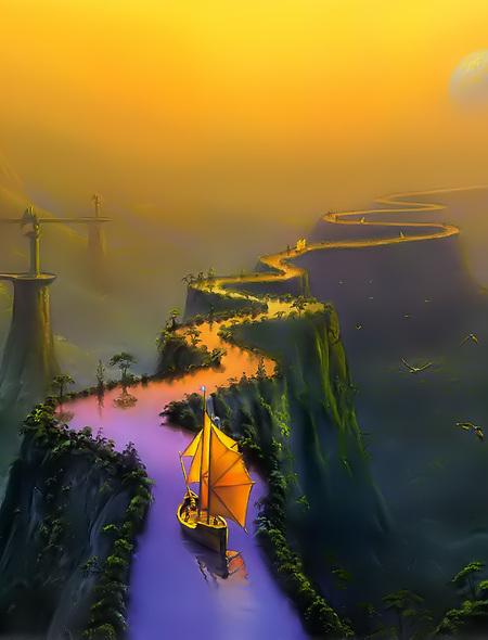 Fantasy Boat Road Wallpaper for Amazon Kindle Fire 450x590