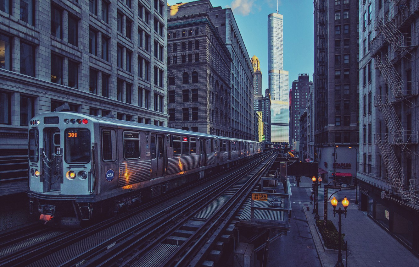 Wallpaper the city train skyscrapers morning Chicago lights 1332x850