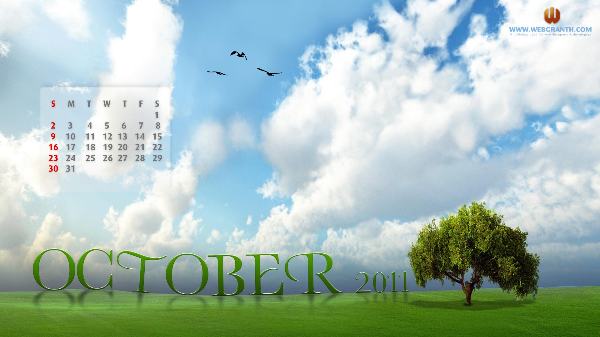 Desktop Calendar Wallpaper October 2011 Download   Webgranth 2015 1920x1080