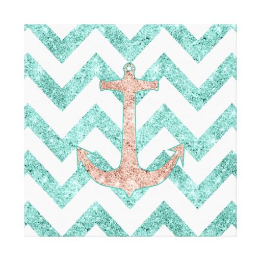 Chevron Anchor Background Coral glitter nautical anchor 512x512