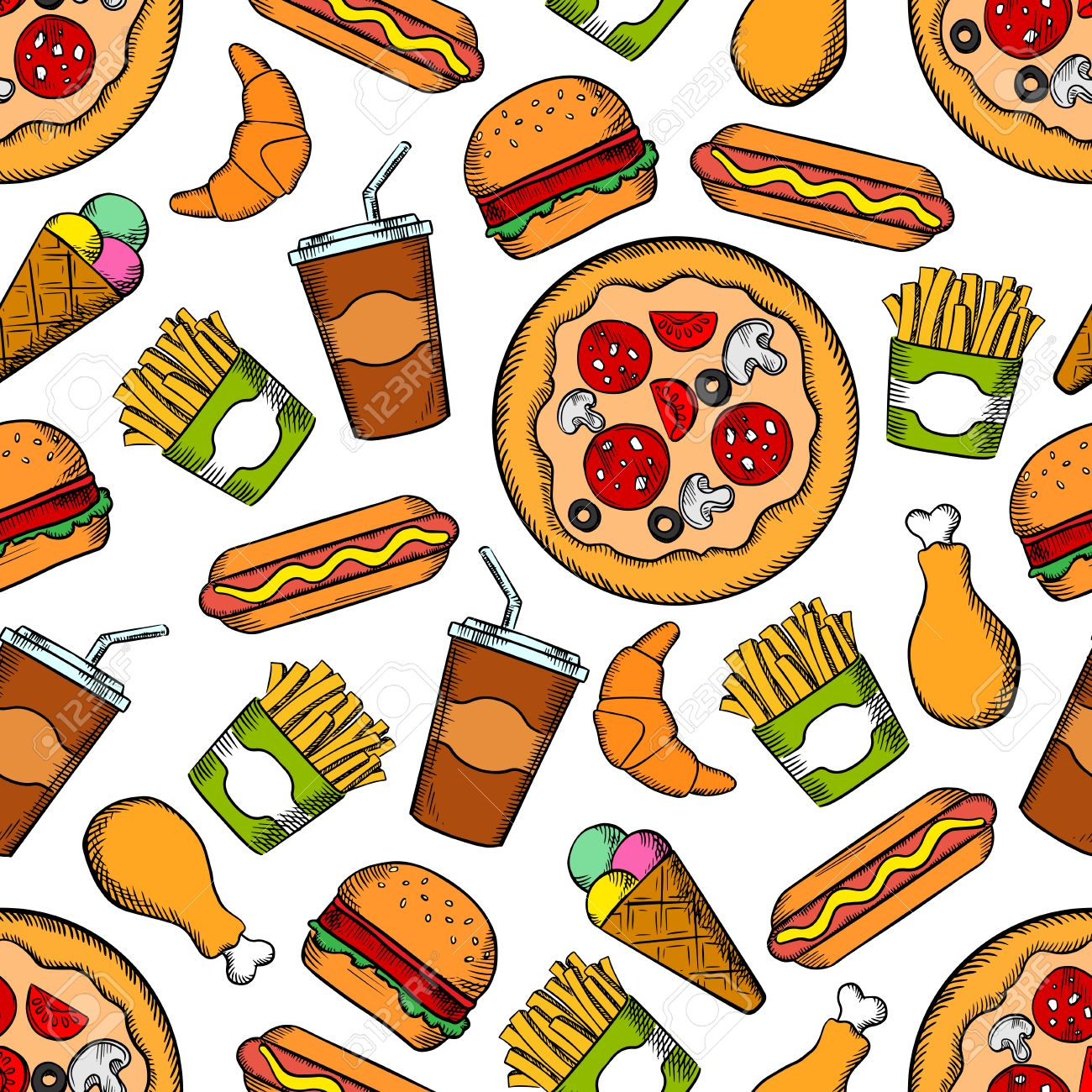 Fast Food Seamless Sketch Background Wallpaper With Vector 1300x1300