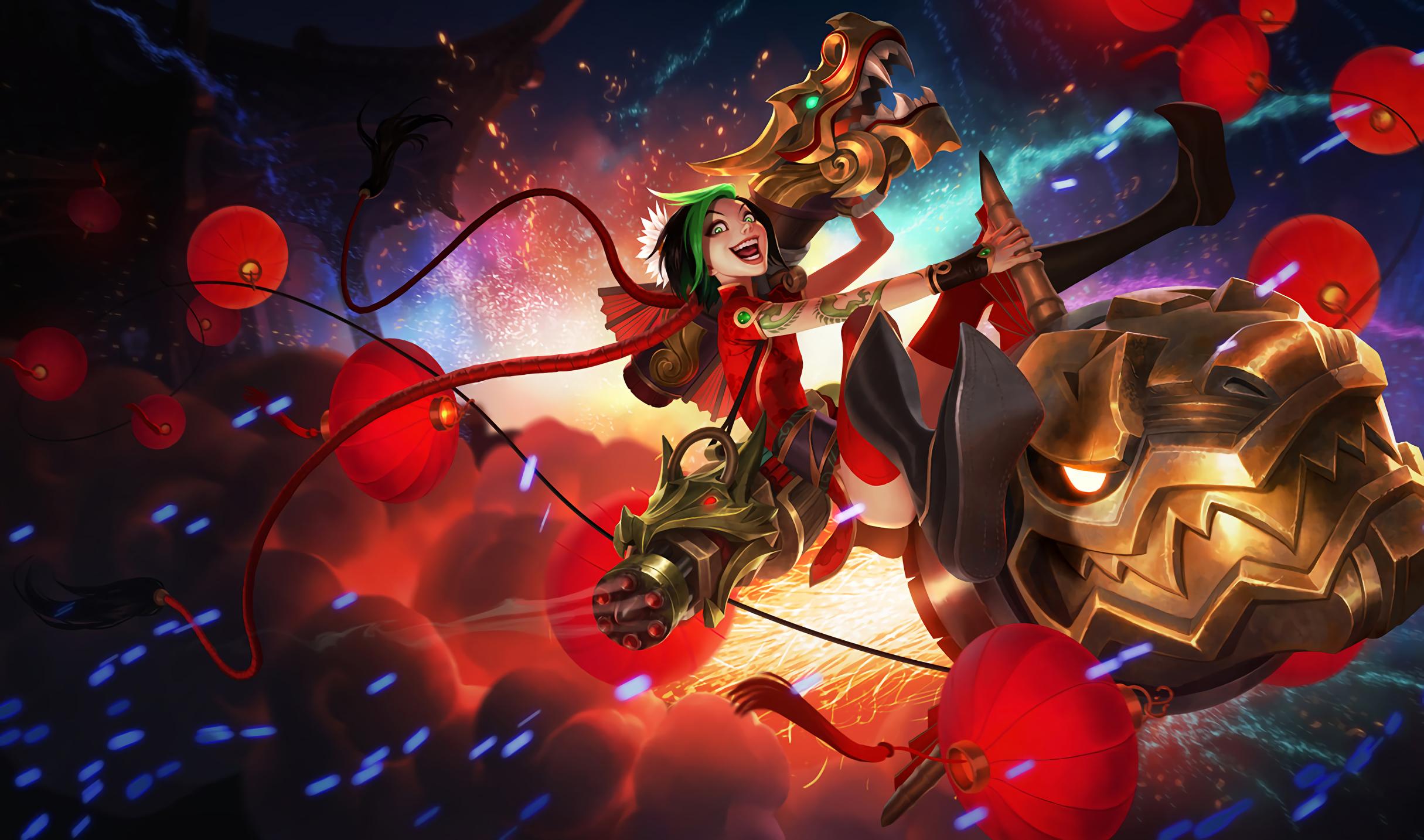Video Game   League Of Legends Fireworks Jinx Wallpaper 2430x1434