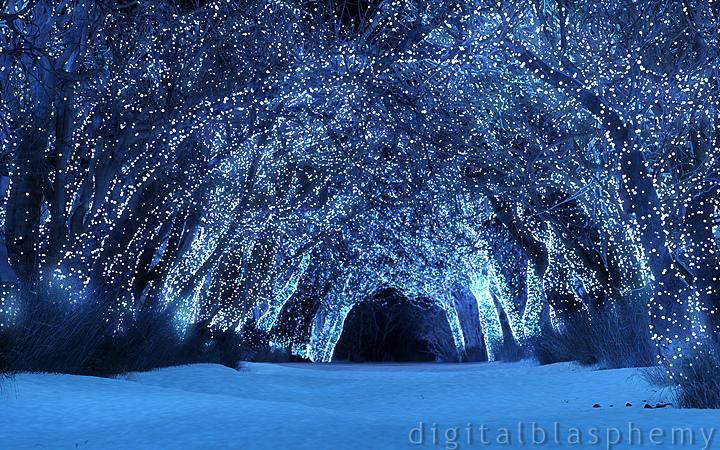 Night Snow Scene Wallpaper Digital blasphemy mobile 720x450