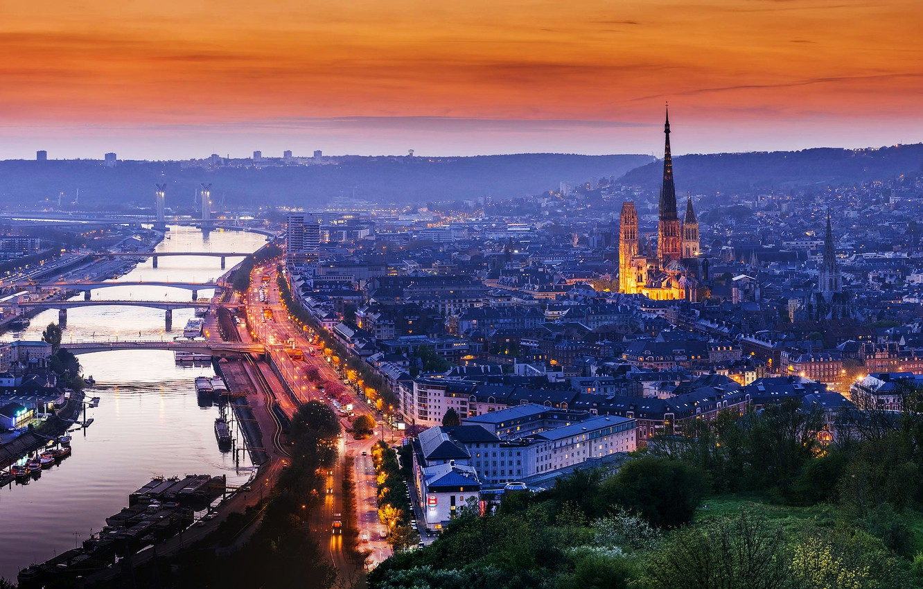 Wallpaper the city lights the evening Normandy Rouen France 1332x850