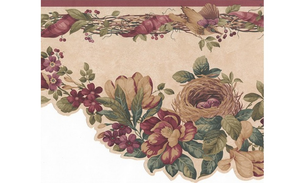 Home Red Bird Nest And Flowers Wallpaper Border 1000x600