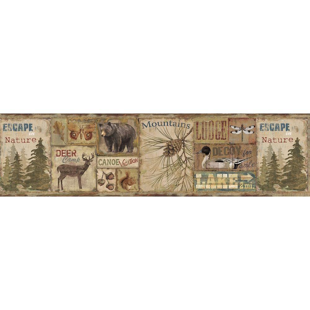 Chesapeake Attitash Brown Deer Camp Wallpaper Border Sample 1000x1000