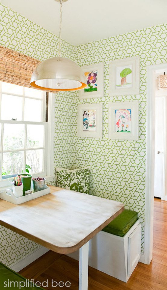 Breakfast nook with green white trellis wallpaper design by 554x962