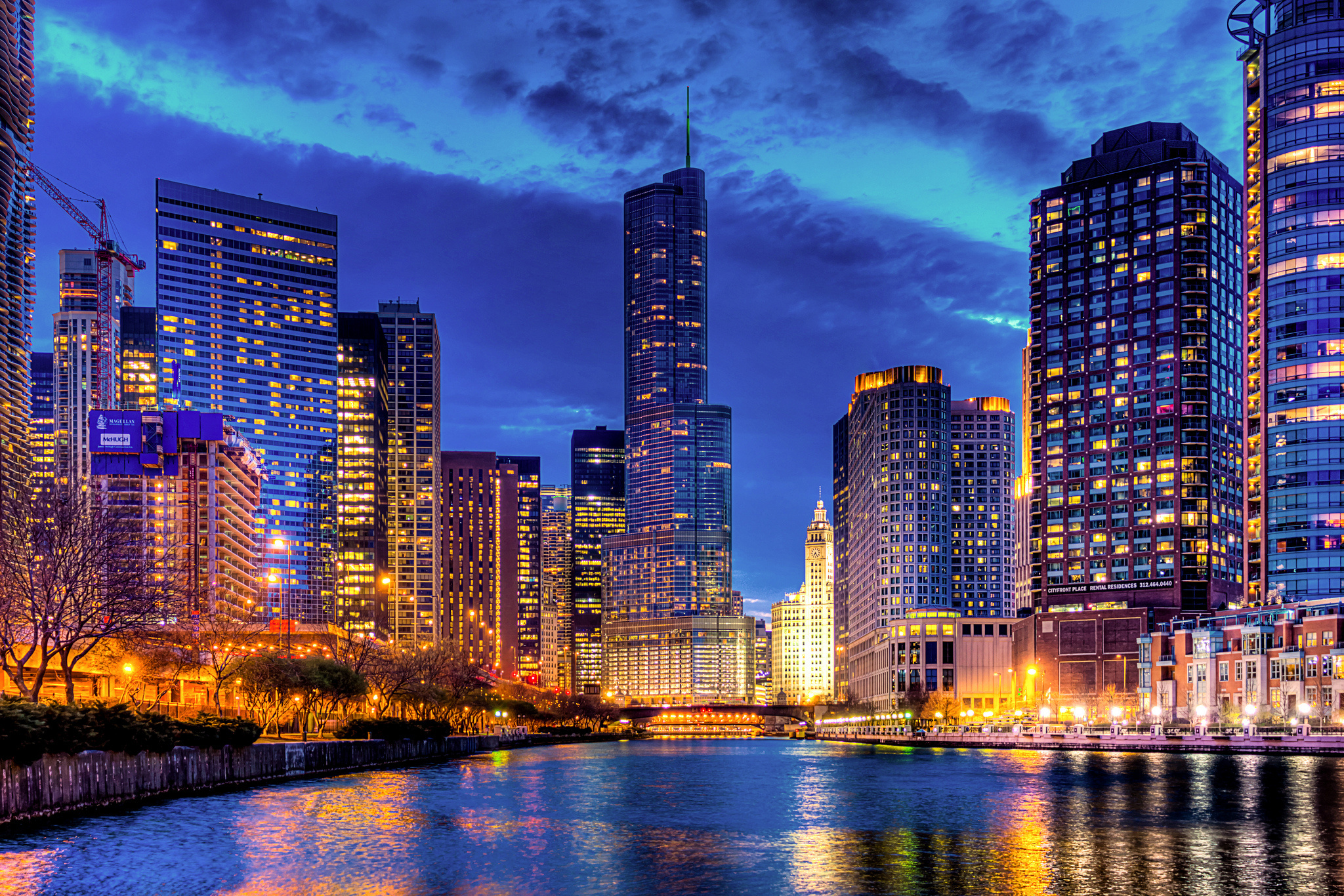 Streeterville chicago usa illinois trump tower wallpaper 2048x1366