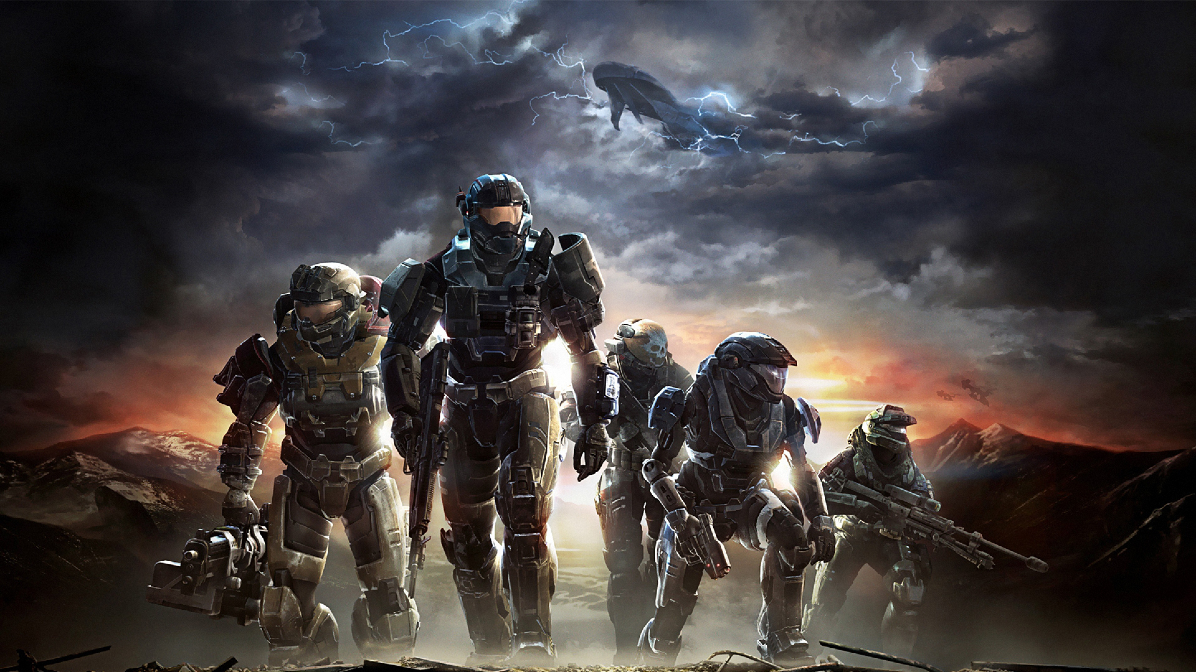 Download Wallpaper 3840x2160 halo soldiers sky clouds mountains 4K 3840x2160