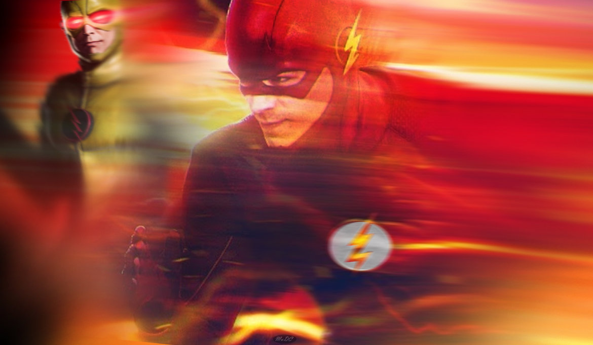 Wallpaper The Flash and Reverse Flash in yellow HD desktop background 1170x682