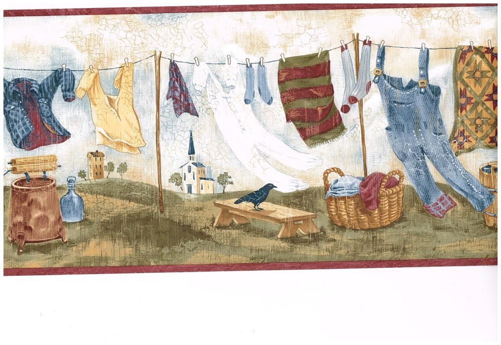 Country Laundry Clothesline Burgundy Trim Wallpaper Border eBay 1000x688