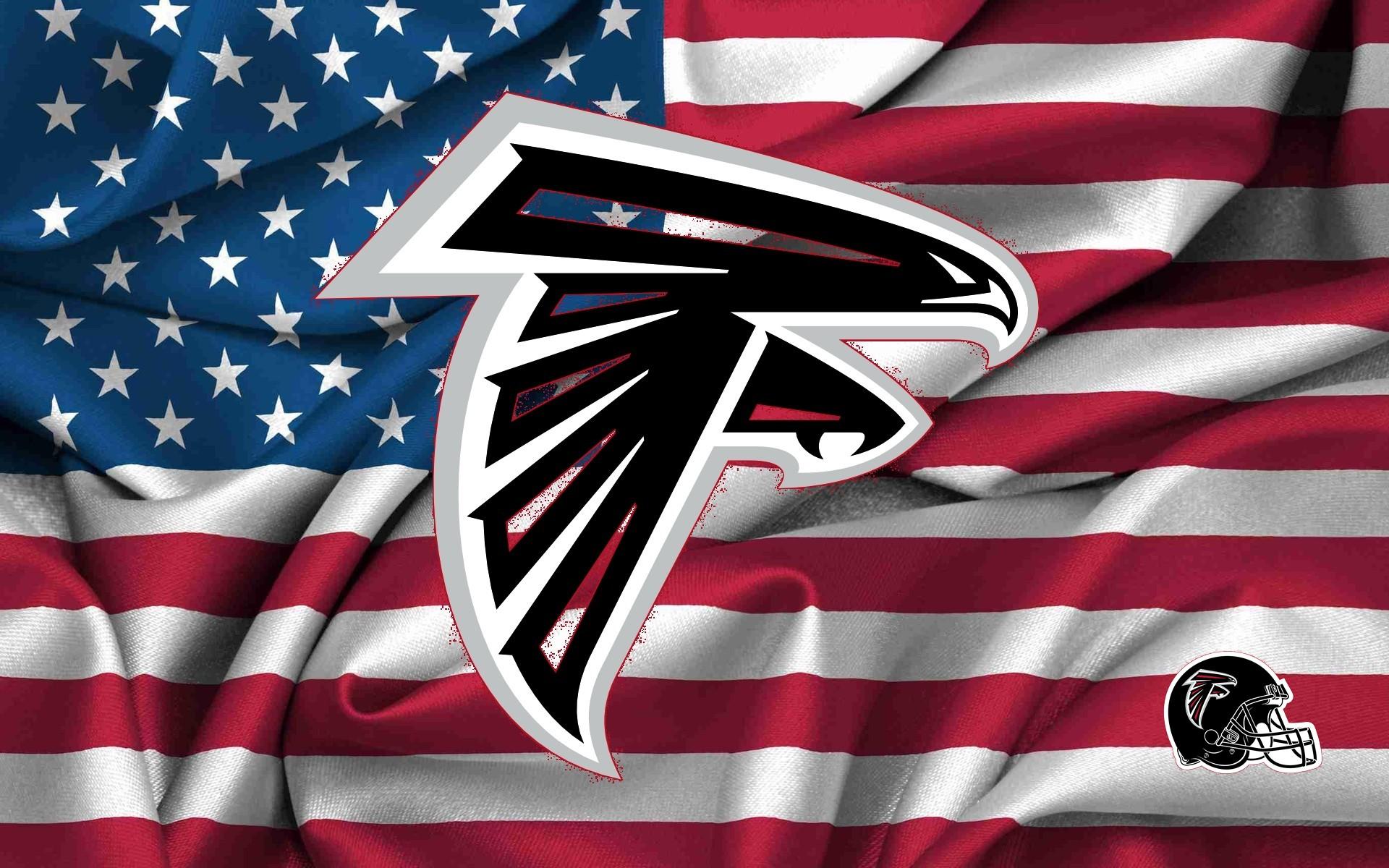 Atlanta Falcons Logo On USA Flag Wavy Canvas 1920x1200 WIDE NFL 1920x1200