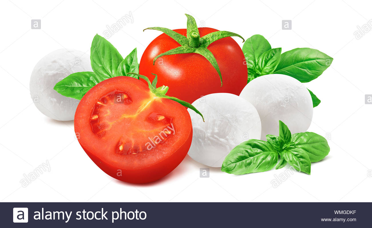Fresh tomato basil leaves mozzarella cheese balls isolated on 1300x797