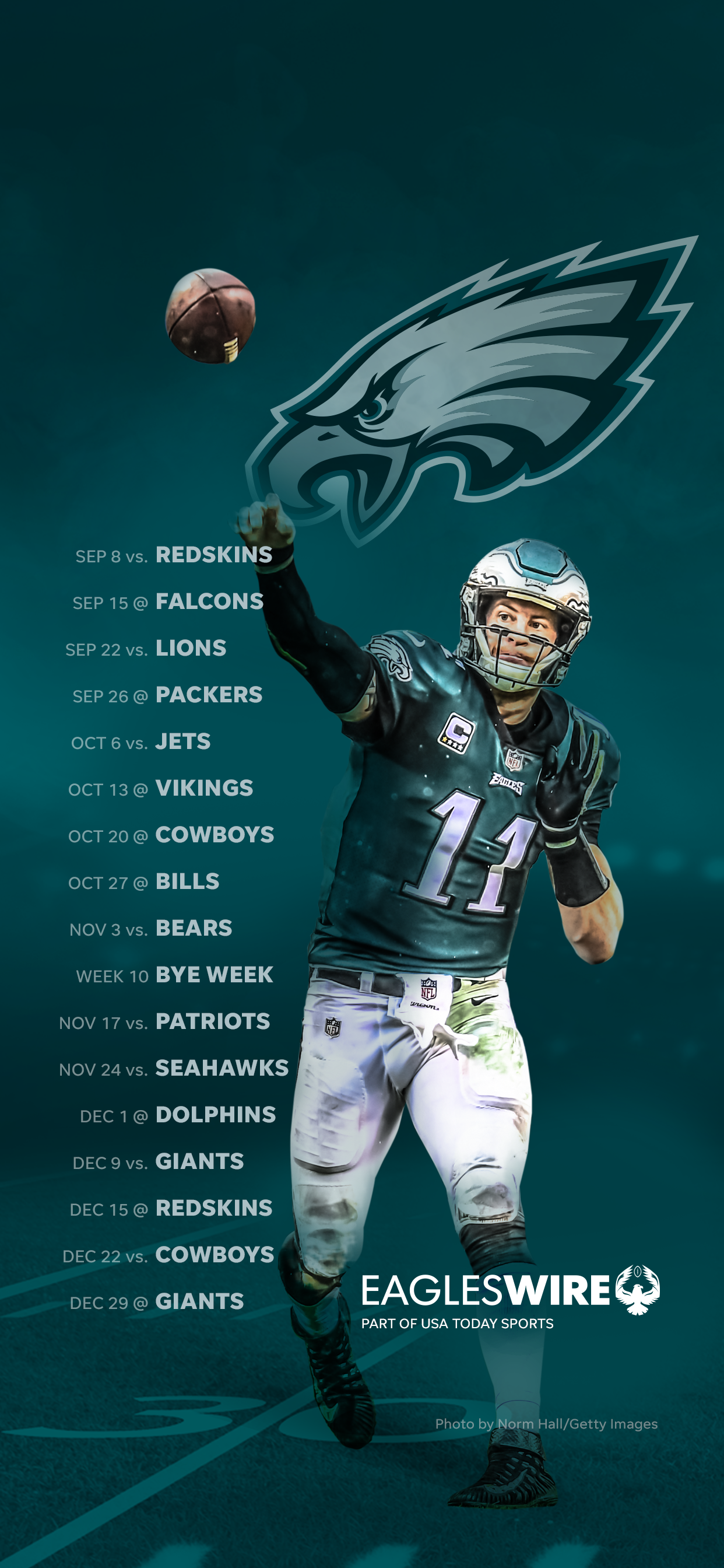 2019 Philadelphia Eagles Schedule Downloadable Wallpaper 1242x2688
