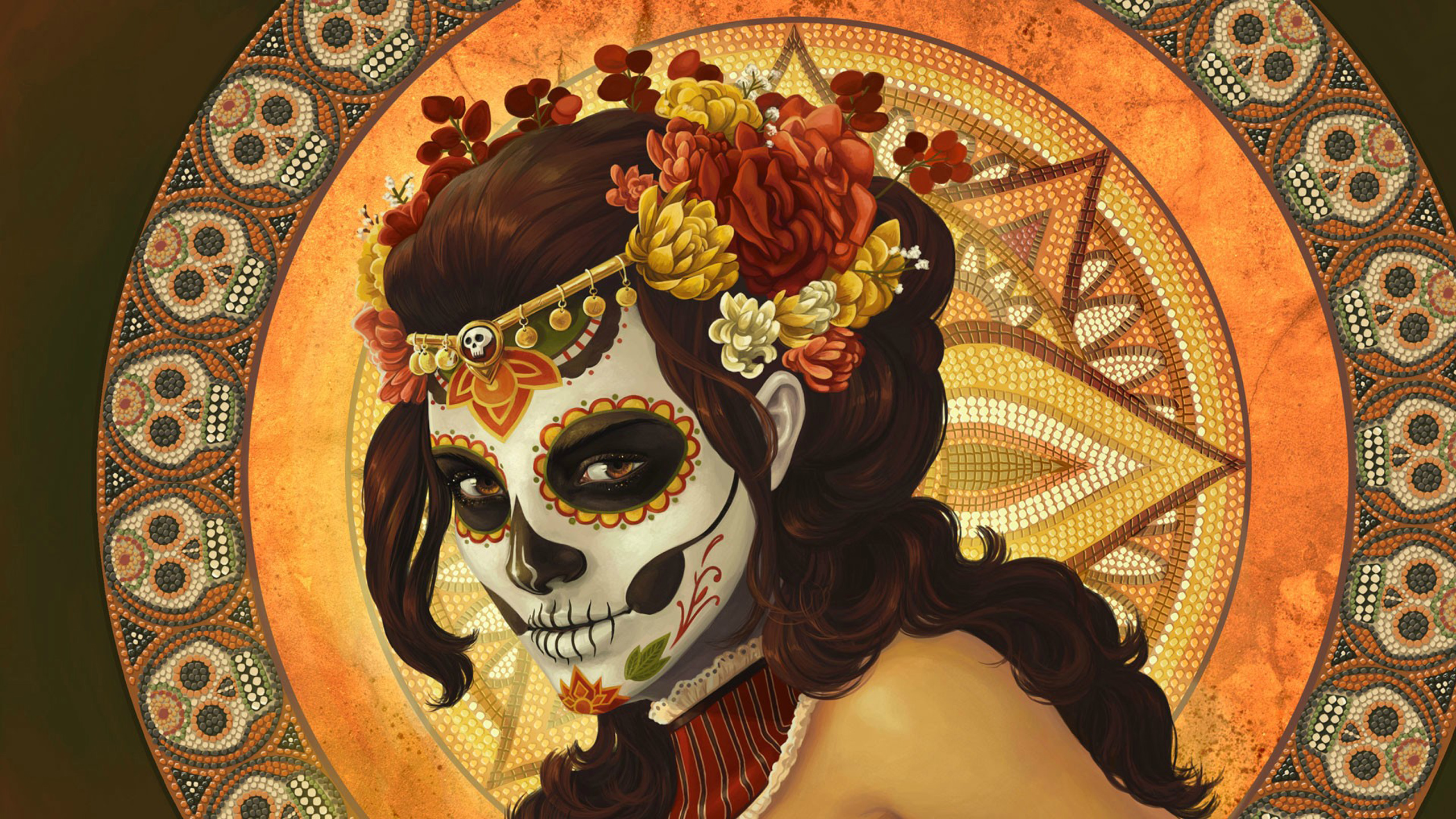 Girl Skull Makeup Art HD Wallpaper 2560x1440