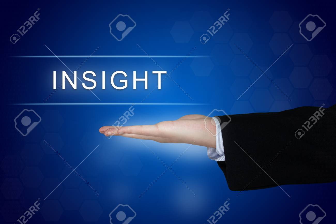 Insight Button With Business Hand On Blue Background Stock Photo 1300x866