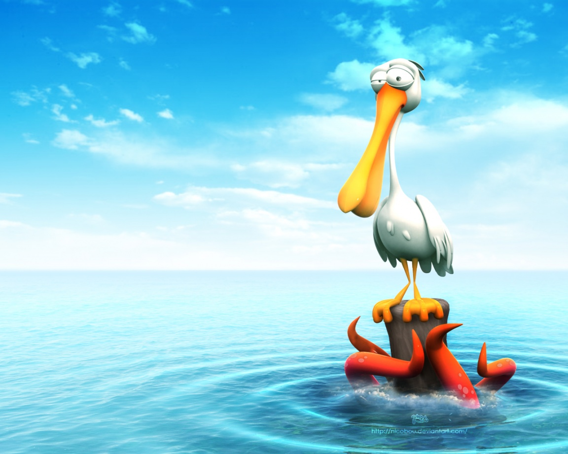 Funny 3D Cartoon Bird Desktop Wallpaper Wallpapers Gallery 1152x921