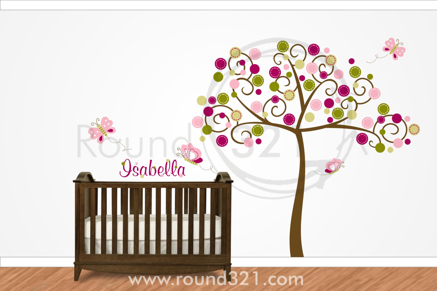 Tree with Butterflies and Personalized Name Wall Decal for 1500x1000