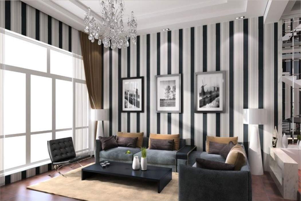 living room design ideas of black and white vertical stripes wallpaper 1051x701
