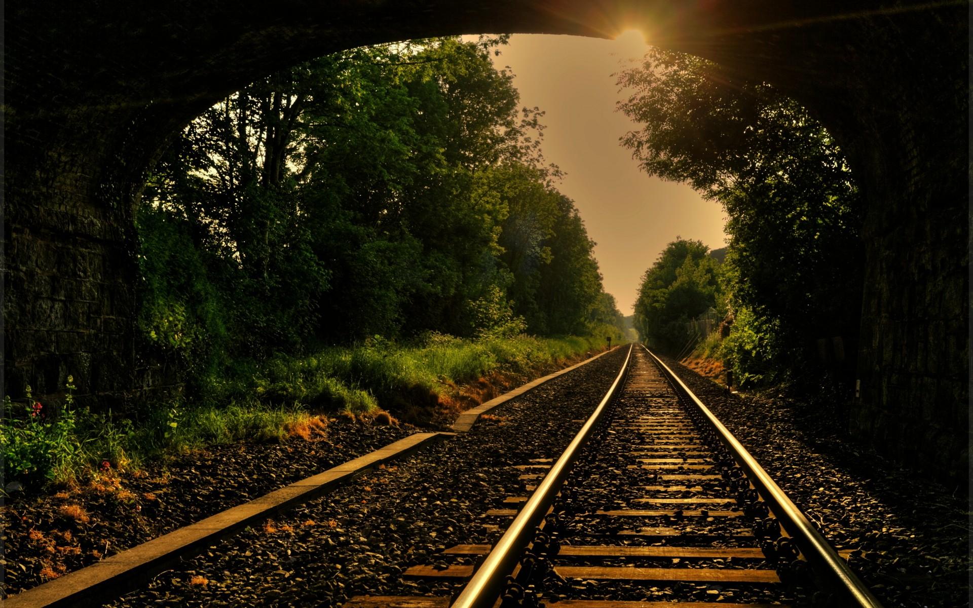 train railroad tracks mood wallpaper background 1920x1200