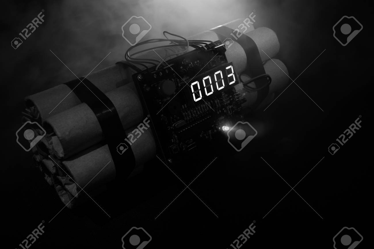 Image Of A Time Bomb Against Dark Background Timer Counting 1300x866