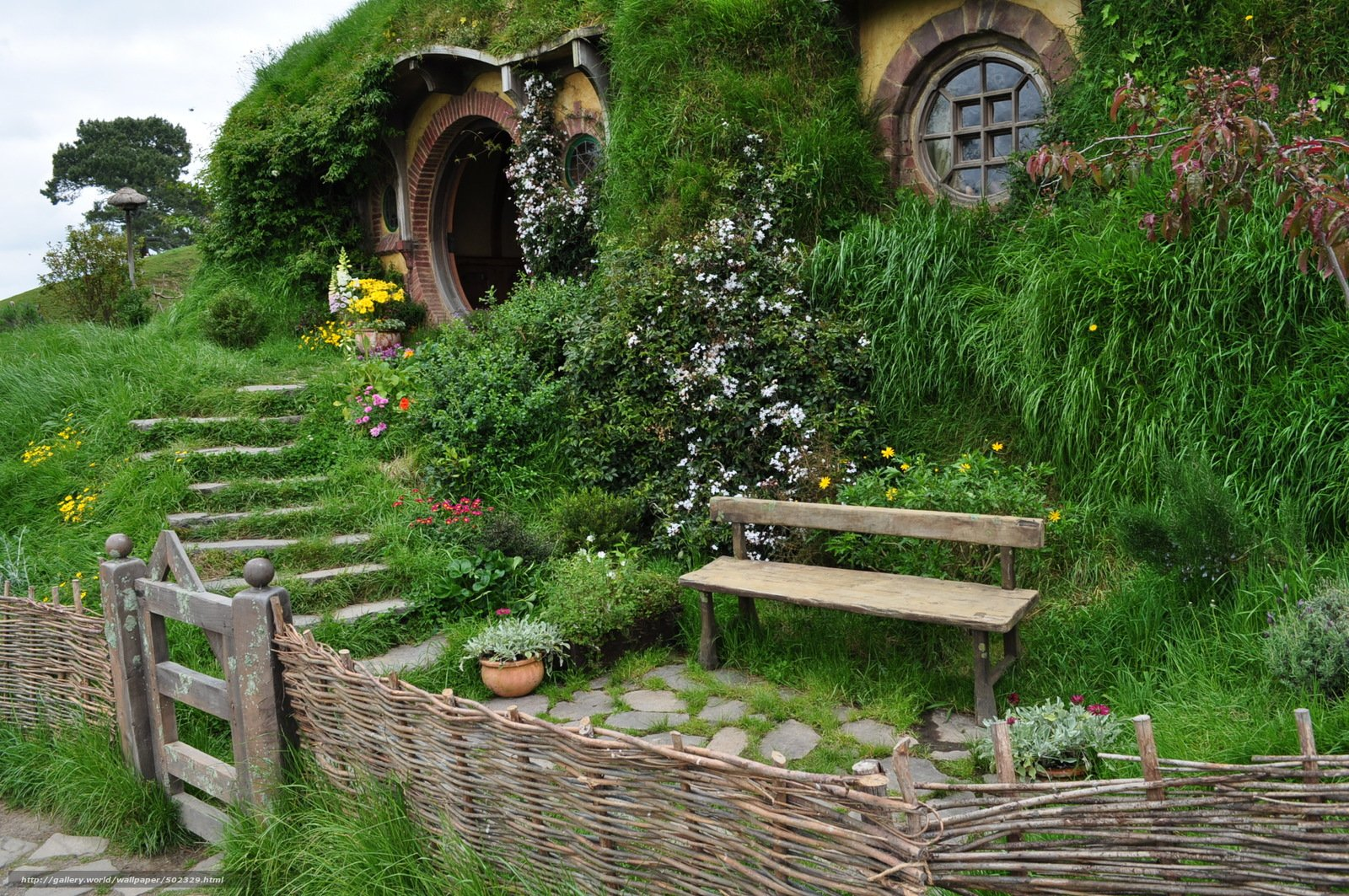 wallpaper new zealand Hobbit House landscape desktop wallpaper 1600x1063