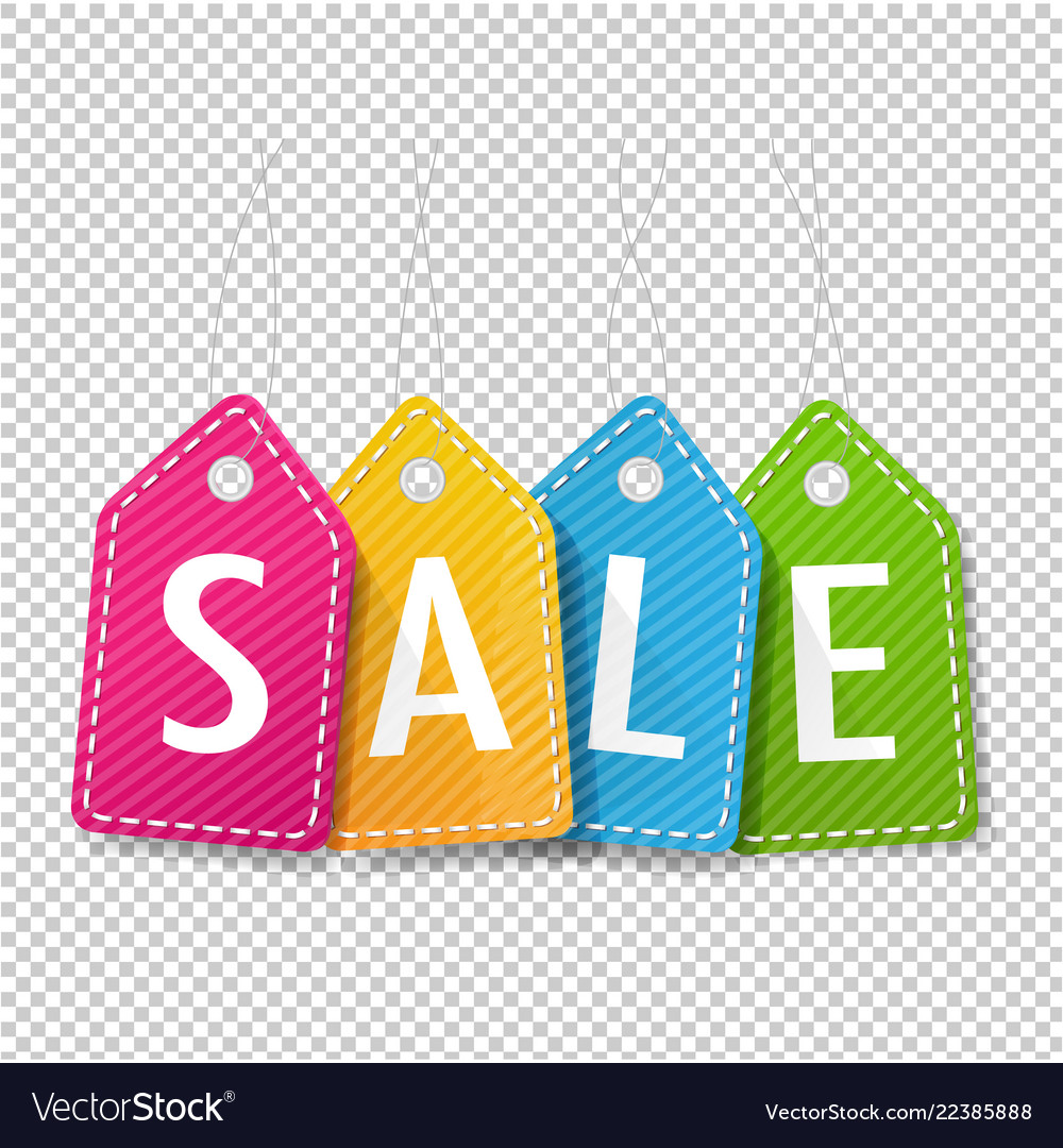 Sale price tags transparent background Royalty Vector 1000x1080