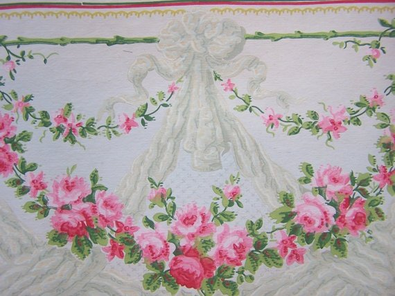 1900s Antique Wallpaper Rose Garland Swags Bows Large Border Liberty 570x428