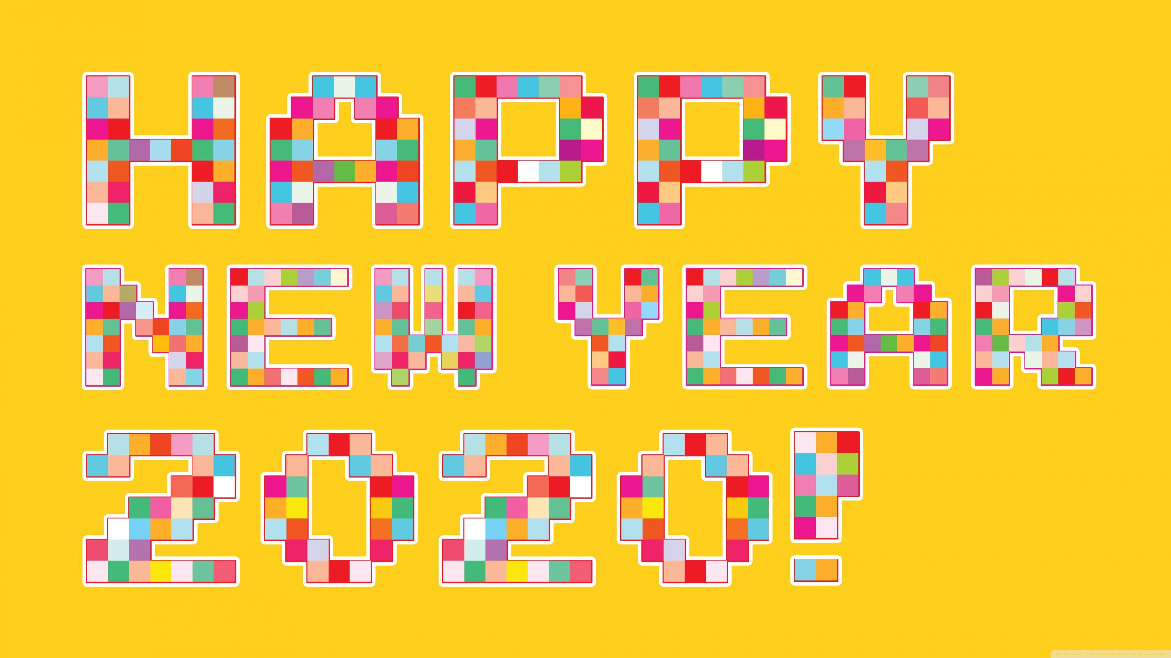 Happy New Year 2020 Pixel Art 4K HD Desktop Wallpaper for 4K 3840x2160
