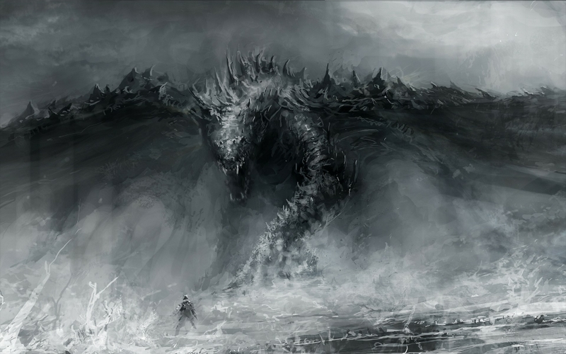black and white dragons monsters fantasy art grayscale artwork 800x500