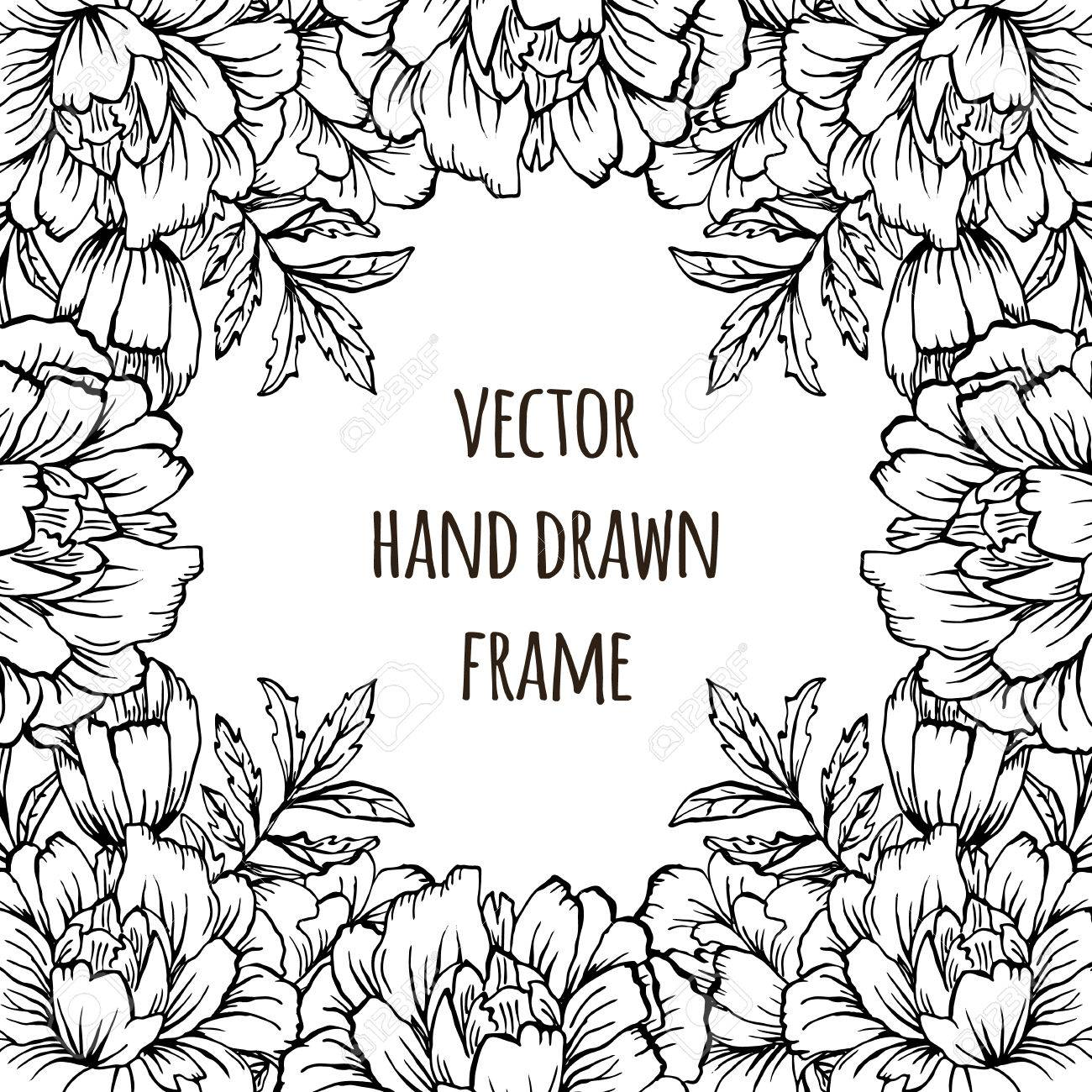 Ornate Floral Flyer With Flowers Doodle Sharpie Background 1300x1300