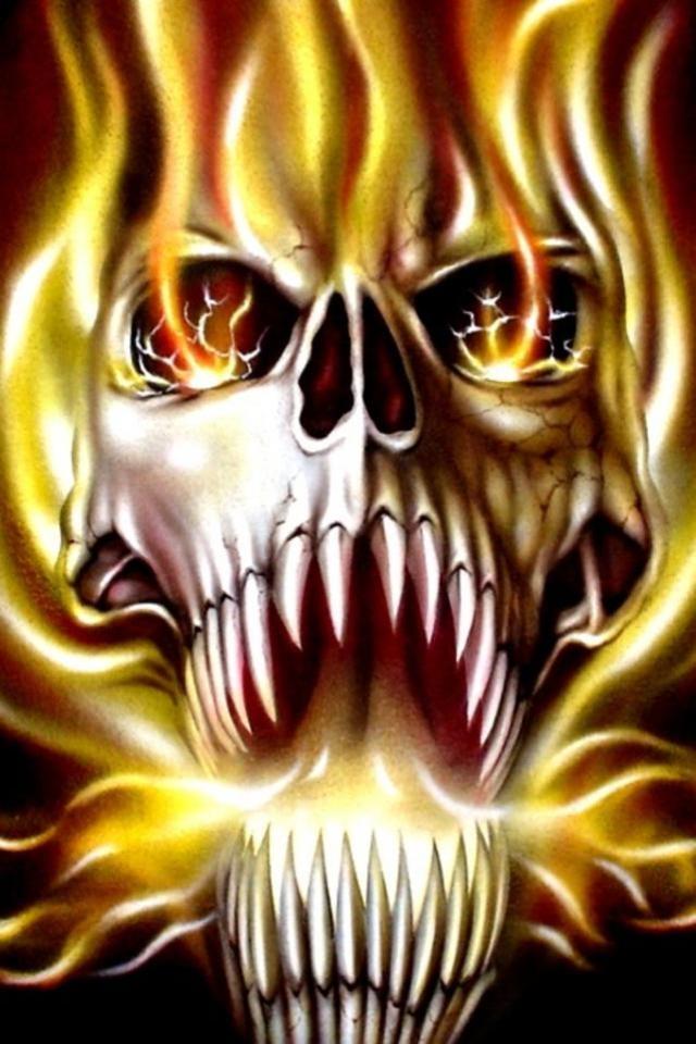 flaming skull wallpaper 640x960