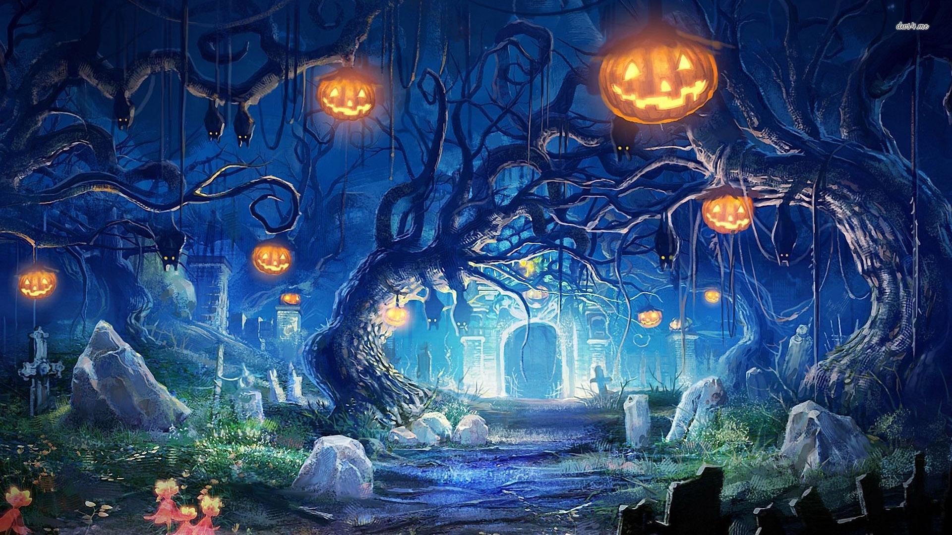 Halloween night in the cemetery wallpaper   Holiday wallpapers 1920x1080