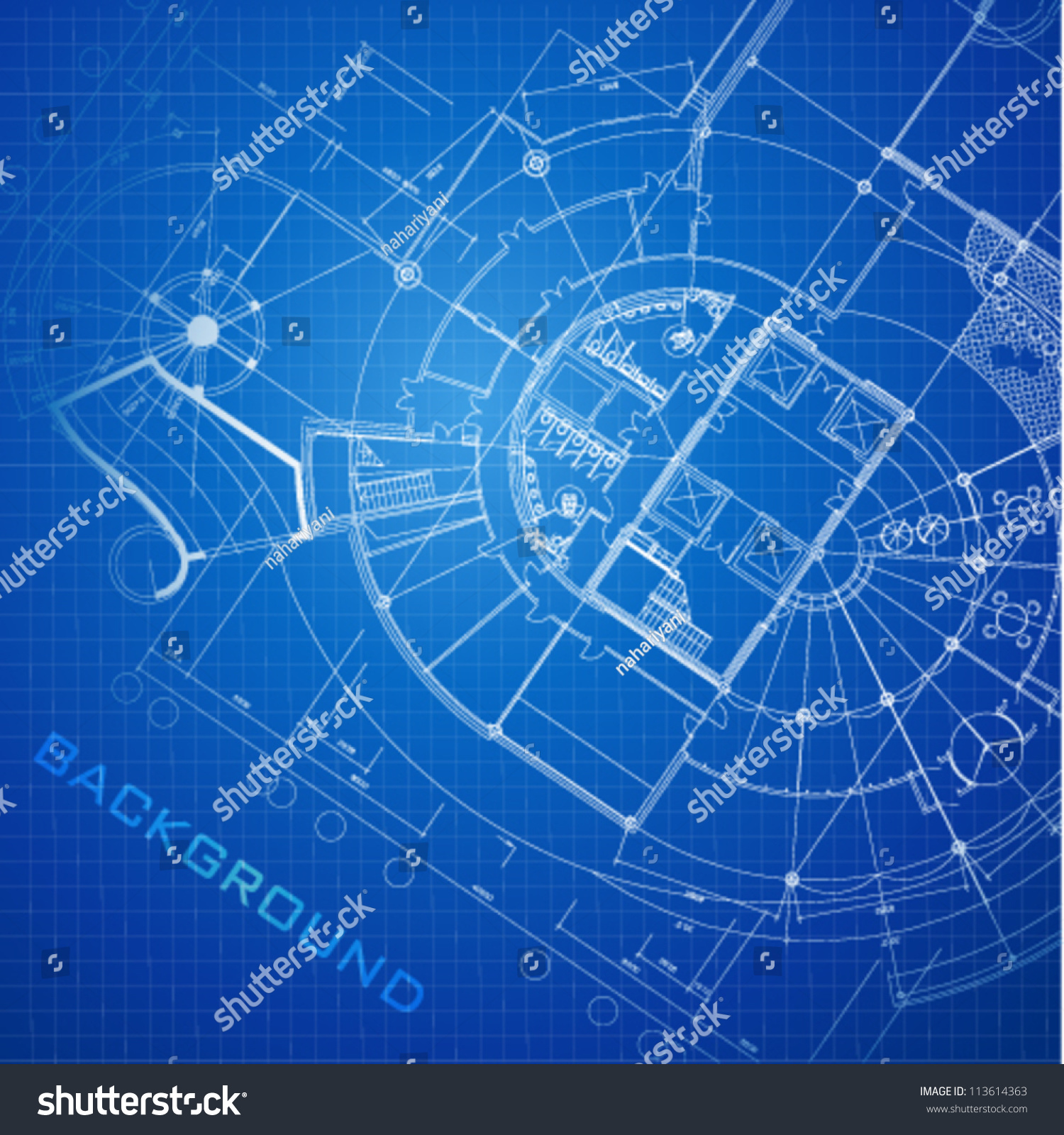 Urban Blueprint Vector Architectural Background Part Stock Vector 1500x1600