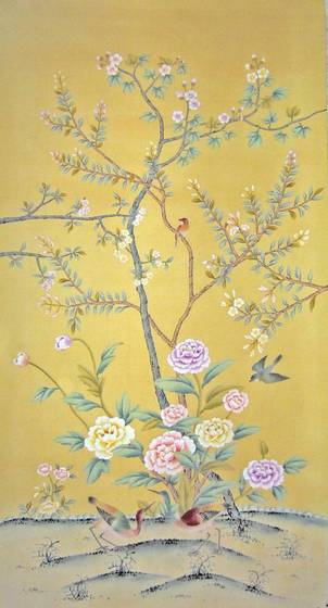 Chinese Hand painted Wallpaper CHINOISERIE 36   La Chibeau Company 302x560
