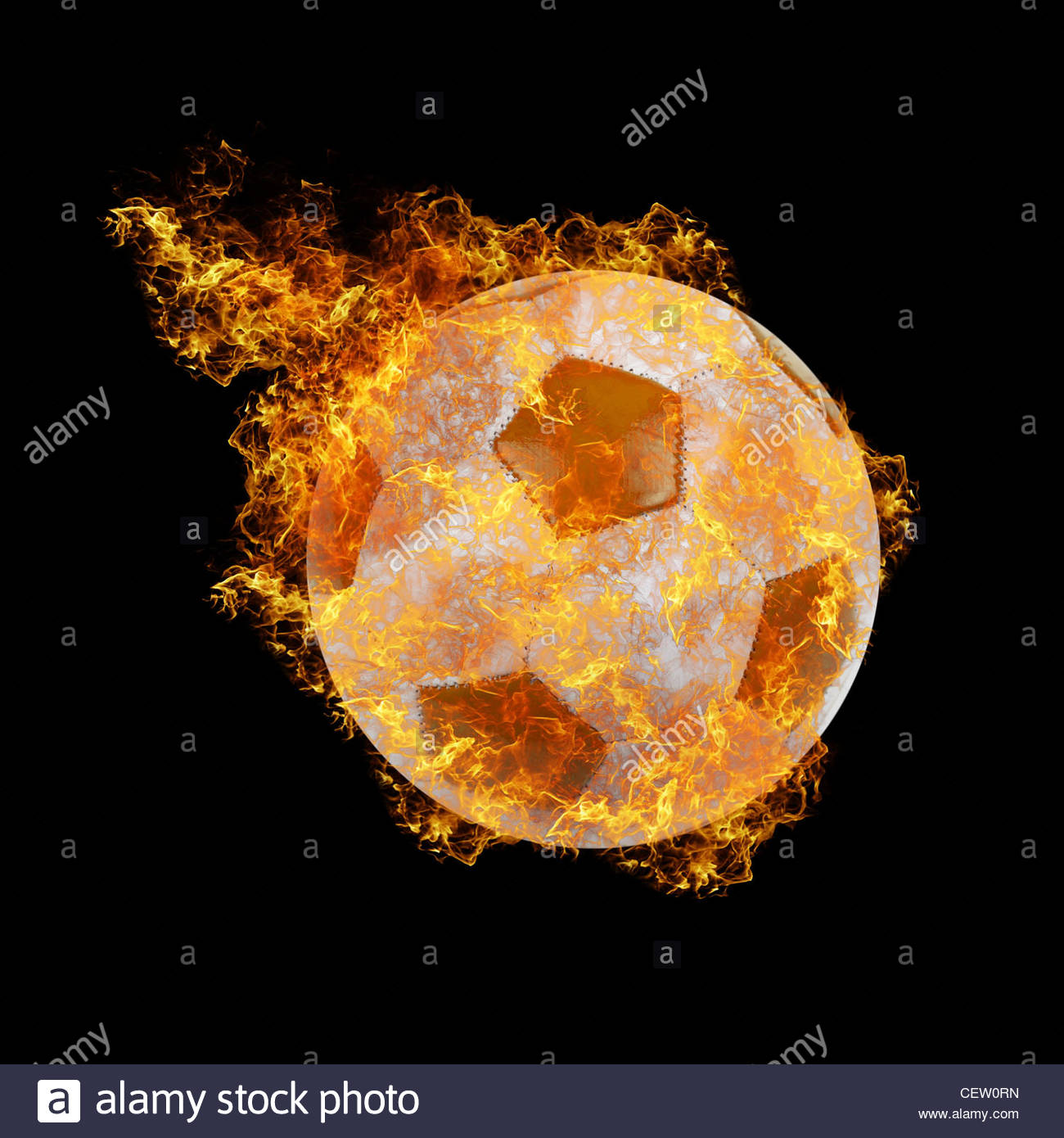 soccer ball on a black fire background Stock Photo 43575385   Alamy 1300x1390