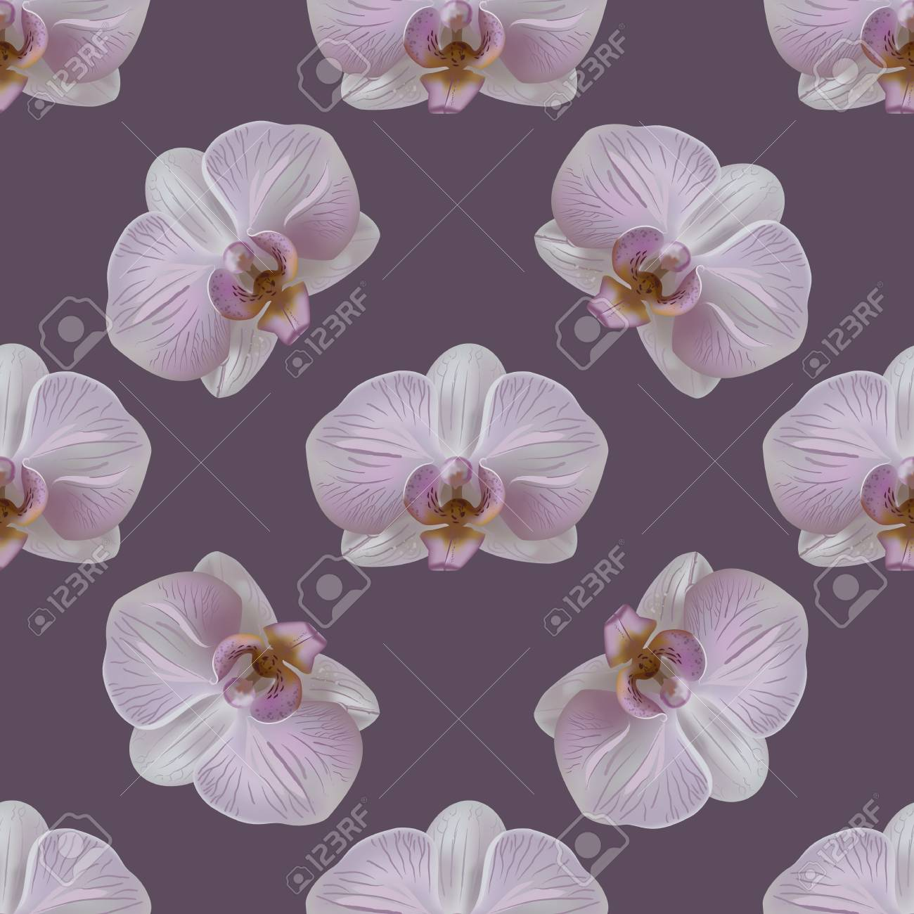 Tender Orchid Flower Seamless Pattern On Purp Background Stock 1300x1300