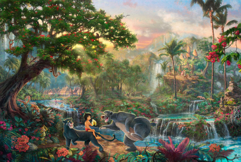 Kinkade Wallpaper The Jungle Book Thomas Kinkade STUDIOS Walt Disney 3000x2018