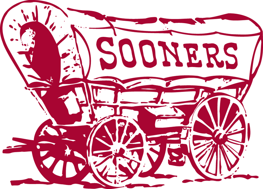 Oklahoma Sooners Primary Logo 1952   Sooner Scooner   maroon covered 878x630