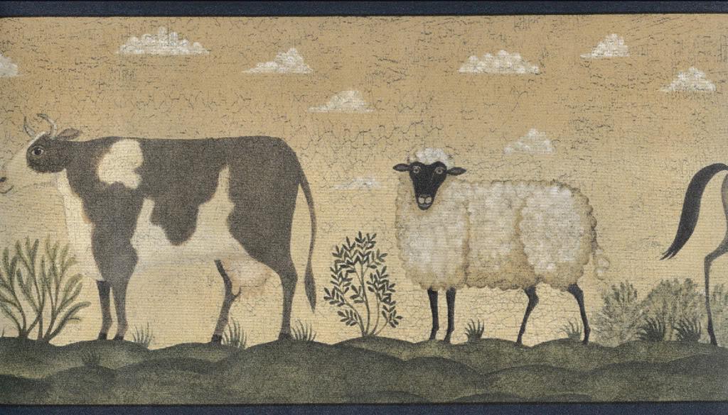 Details about Wallpaper Border Folk Art Primitive Farm Cow Sheep Pig 1024x585